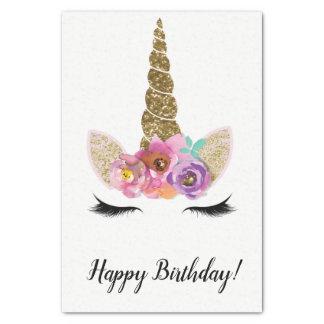 Papel De Seda Fiesta de cumpleaños floral del purpurina del oro