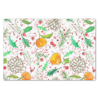 Papel De Seda Fruta de la acuarela de la mandarina de los