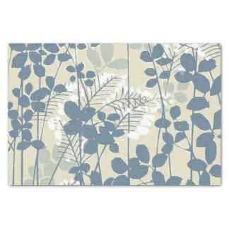 Papel De Seda Impresión azul floral de las flores del arte