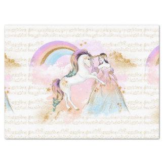 Papel De Seda La música de princesa Rainbow del unicornio