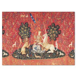 Papel De Seda León de la SEÑORA Y del UNICORNIO, flores de la