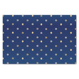 Papel De Seda Lunares del oro y de la plata en azules marinos
