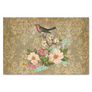 Papel De Seda marrón floral del victorian del pájaro del damasco