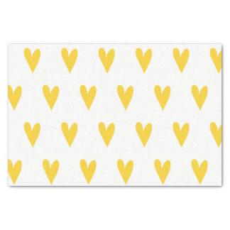 Papel De Seda Modelo amarillo de los corazones