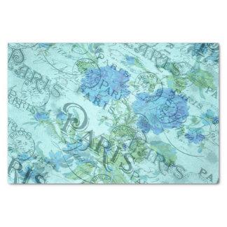 Papel De Seda Modelo floral azul de los matasellos de París del