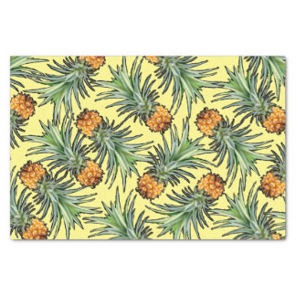 Papel De Seda Modelo tropical de la piña en amarillo