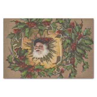 Papel De Seda Navidad antiguo del acebo de Santa del vintage