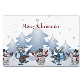 Papel De Seda Navidad banda linda del muñeco de nieve y del reno