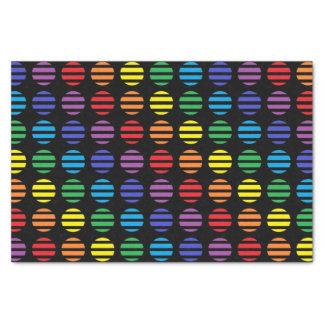 Papel De Seda Negro de los lunares y de las rayas del arco iris