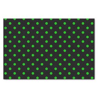 Papel De Seda Negro y lunares verdes de neón