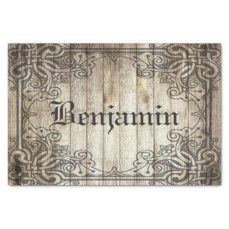 Papel De Seda Nombre personalizado madera oscura adornada de la