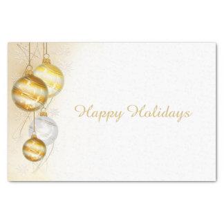 Papel De Seda Ornamentos blancos de la bola del oro del navidad