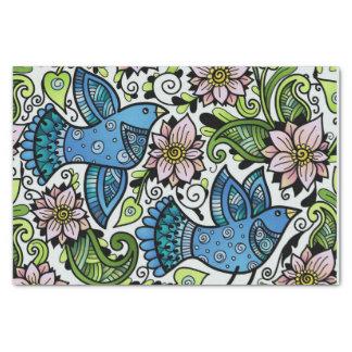 Papel De Seda Pájaros _Chirping y Flowers_Gift de la primavera