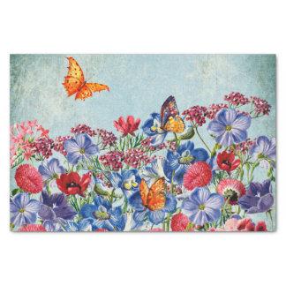 Papel De Seda Prado de la flor - acuarela floral del vintage