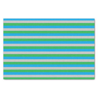 Papel De Seda Rayas de la turquesa, de plata y verdes