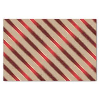 Papel De Seda Rayas diagonales metálicas rojas y de oro