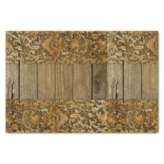 Papel De Seda Rústico, floral, tallas, madera, antigüedad,