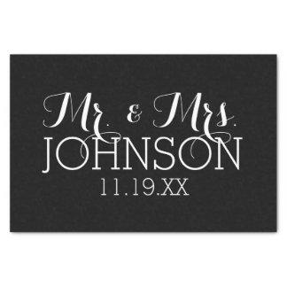 Papel De Seda Sr. y señora Wedding Favors del negro del color