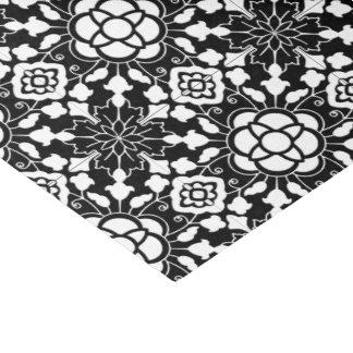 Papel De Seda Teja marroquí floral, blanco y negro
