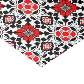 Papel De Seda Teja marroquí floral, de color rojo oscuro, blanco