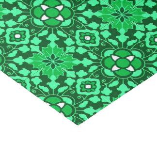 Papel De Seda Teja marroquí floral, luz y verde de jade oscuro