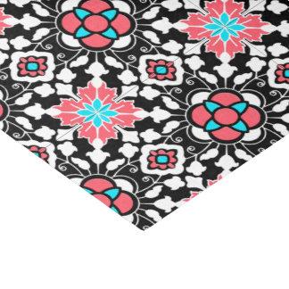 Papel De Seda Teja marroquí floral, negro, blanco y rosa del