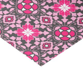 Papel De Seda Teja marroquí floral, rosado fucsia y gris/gris