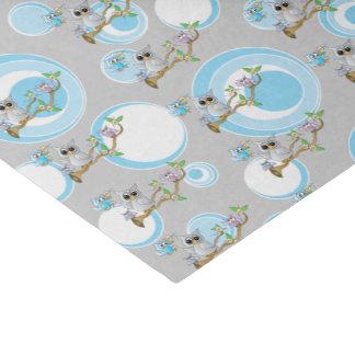 Papel De Seda Tema azul y gris lindo de la ducha de los búhos el