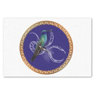 Papel De Seda Turquesa verde y azul con el colibrí púrpura