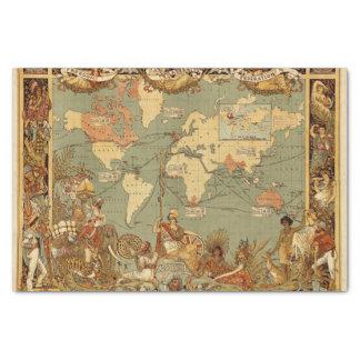 Papel De Seda Vintage antiguo 1886 del mapa del mundo