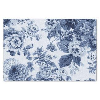 Papel De Seda Vintage Toile floral No.3B de los azules añiles