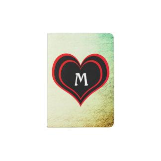 Papel del vintage del Grunge con el corazón y el Porta Pasaportes