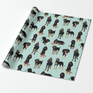 Papel negro y del moreno del Coonhound de embalaje Papel De Regalo