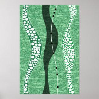 papel pintado abstracto del fondo del verde de la posters