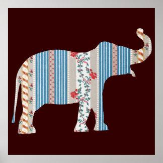 Papel pintado antiguo del modelo del elefante del poster