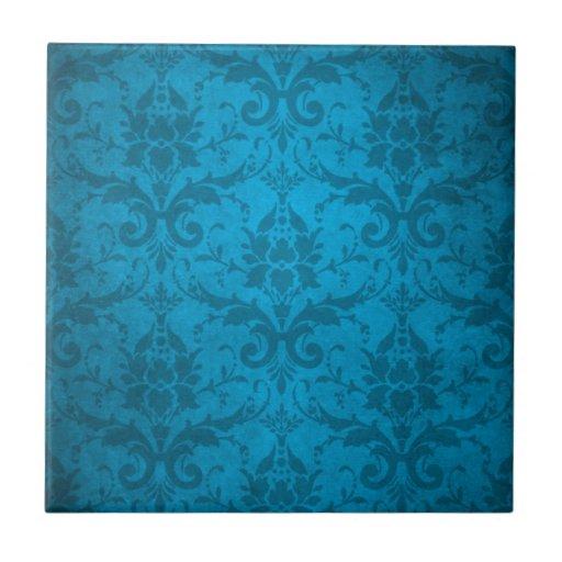 Papel pintado azul del damasco de la aguamarina de teja for Papel pintado color turquesa