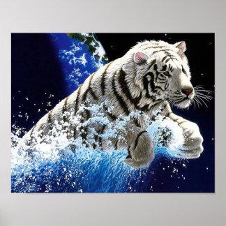 Papel pintado del tigre póster