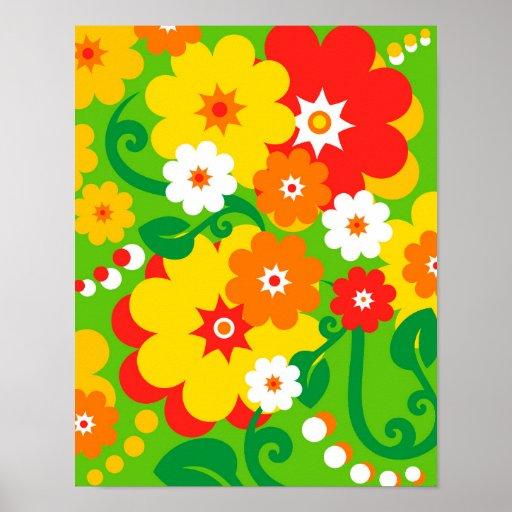 Papel pintado divertido del flower power posters