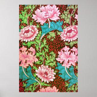 Papel pintado floral del crisantemo de William Póster