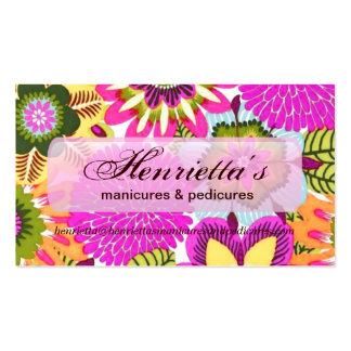 Papel pintado floral del vintage verde azul rosad tarjetas de visita