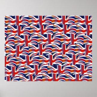 Papel pintado ondulado británico de la bandera póster