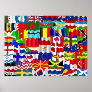 Papel pintado ondulado de la bandera póster
