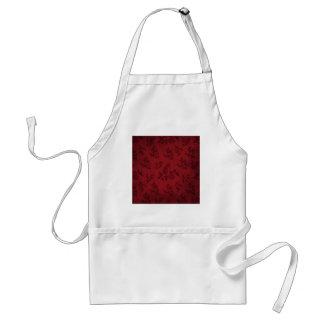 Papel pintado rojo del vintage delantal