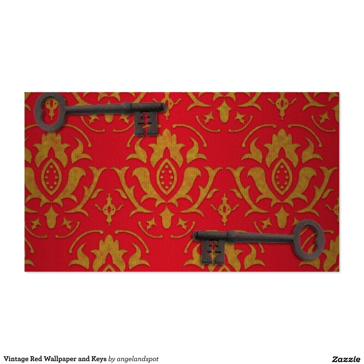 Papel pintado rojo y llaves del vintage tarjetas de visita for Papel pintado rojo