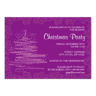 Papel púrpura 5x7 de la fiesta de Navidad Invitación 12,7 X 17,8 Cm