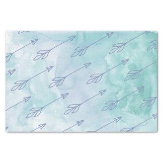 Papel seda azul de la acuarela de la flecha