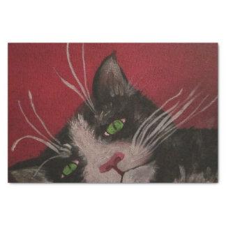 papel seda blanco y negro del gato