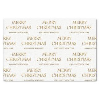 Papel seda de las Felices Navidad en oro y blanco