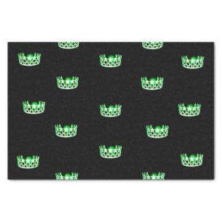 Papel seda verde de la corona de la Srta. los