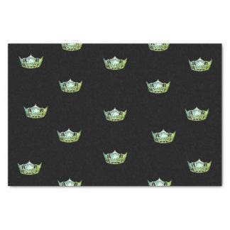 Papel seda verde de la corona de Srta. América